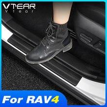 Vlarme pour Toyota Rav4 2019 2020 accessoires voiture porte seuil protecteur pédale Pad autocollants en Fiber de carbone décoration intérieure style