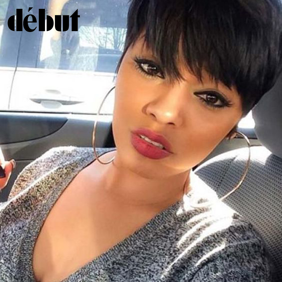 Debut Hair Brazilian Remy Short Straight Human Hair Wigs For Black Women Side Part Ombre Wigs With Bangs Free Shipping title=