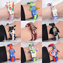 Buzz light year bracelet with cartoon building blocks braided popular for students couple gift personality for male and female