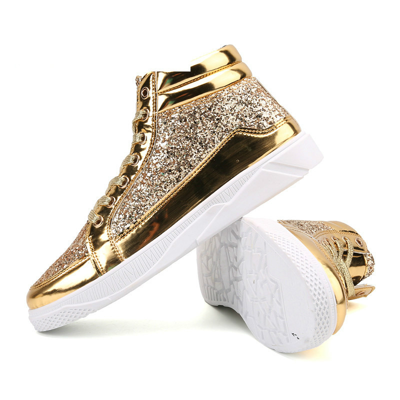 QWEDF 2019 Men hip hop dancing sneakers Flats Shoes Spring gold silver bling Rhinestone Lace Up male Casual Ankle boots DP-164