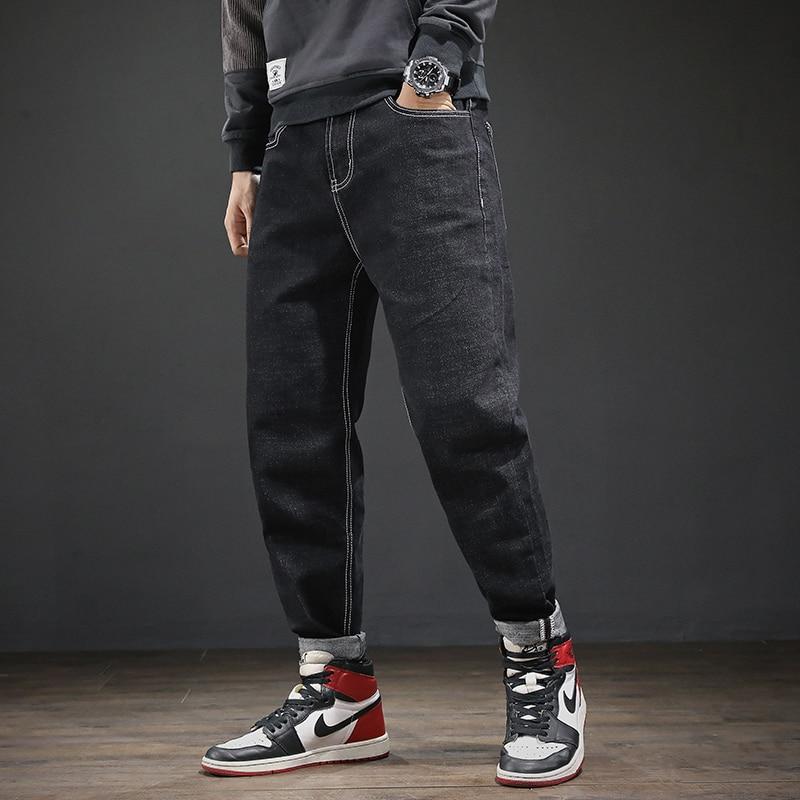 Fashion Streetwear Men Jeans Vintage Black Loose Fit Harem Jeans Japanese Style Big Size 28-42 Hip Hop Jeans Men Pencil Pants
