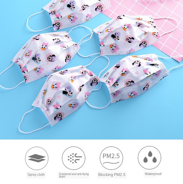 Cartoon Kids Disposable Mask 3 Layer Anti-Virus  Filter Flu Hygiene Dust Children's Protective Face Mask Earloop Fast Delievry 4