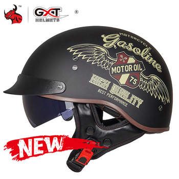 Casco de moto GXT Retro para hombre y mujer, casco de motocicleta de verano con cara abierta, motocicleta, casco de moto con certificación DOT