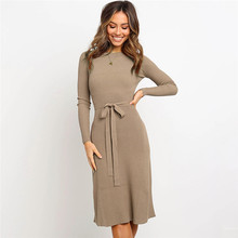 Fashion Sashes Office Ladies Long Women Dress Solid O-Neck Full Sleeve Knitted Winter Dress Plus Size Slim Casual Vestidos Robe цены