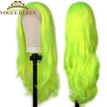 Vogue reina brillante amarillo verde sintético largo peluca con malla frontal resistente al calor Cosplay para las mujeres
