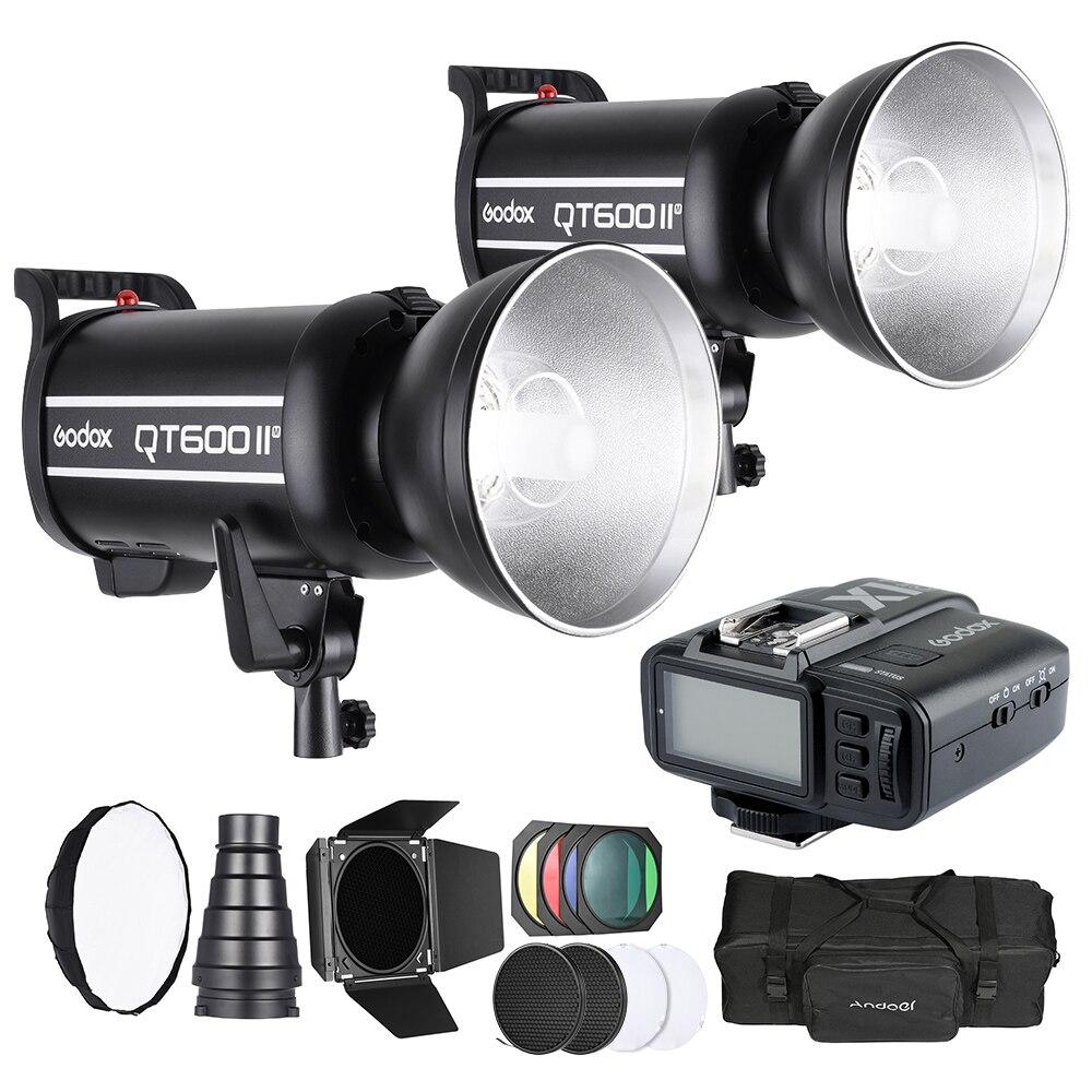 Kit de photographie de lumière Studio Godox Set avec 2 * Godox 600W Flash stroboscopique sans fil déclencheur transmetteur sac de transport etc pour Canon