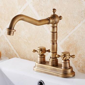 "Antique Brass 4"" Centerset Bathroom Two Holes Basin Faucet Sink Mixer Tap Swivel Spout Double Cross Handles mnf426"
