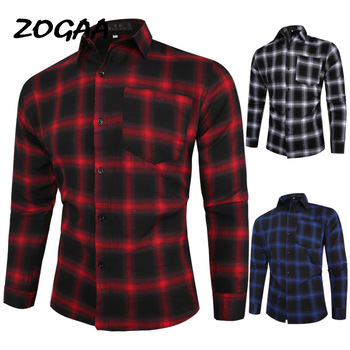 ZOGAA plaid shirt 2020 autumn and winter new red checkered mens long sleeve petticoat