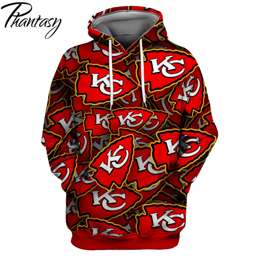 Phantasy 2020 Catch Performance American Football Hoodie Kansas City Chiefs Long-Sleeved Cute Funny Pullover