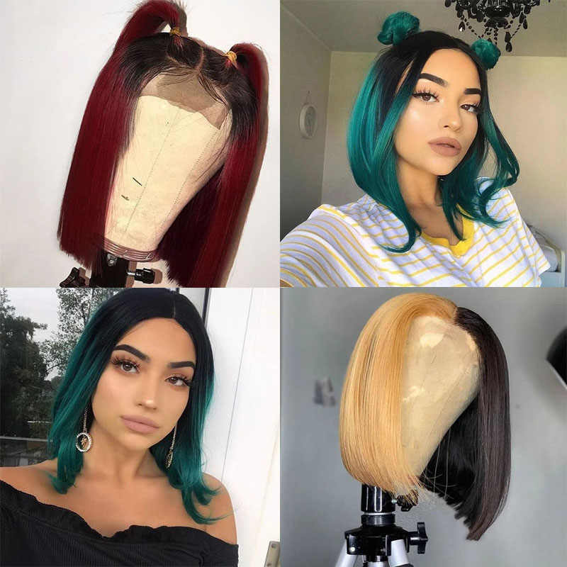 Blonde 99J Green Ombre Highlight Colored Human Hair Wig 13X6 Red Burgundy Short Straight Bob Lace Front Remy Wig For Black Women