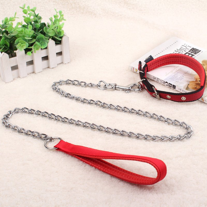 Dog Iron Chain Teddy Dog Chain Golden Retriever Hand Holding Rope Dog Rope Small Medium-sized Dog Puppy Neck Ring Pet Supplies
