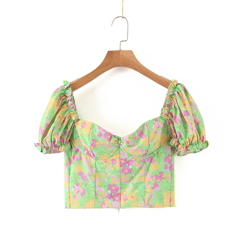 New Green Bottom Printed Square Collar Pleated Short Section Was Thin And Versatile Half Sleeve Small Shirt Top