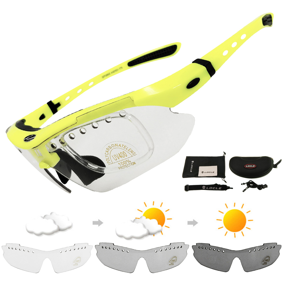LOCLE Photochrome Radfahren Fahrrad Bike Gläser Outdoor Sports Fahrrad Sonnenbrille Brille Fahrrad Brillen UV400 Gafas Ciclismo