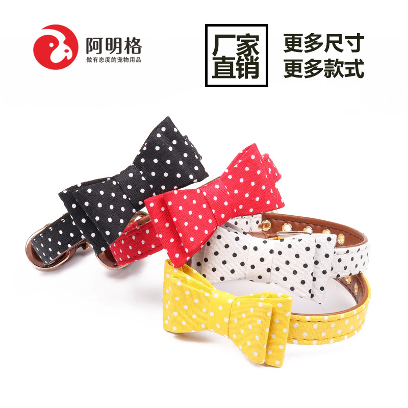 Amin Lattice New Style Origional Small And Medium-sized Dogs Pet Bow Neck Ring Polka Dot Cat Neck Ring