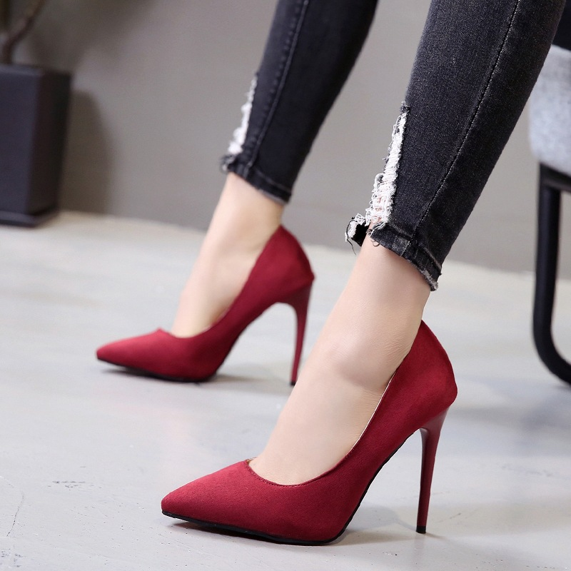 Office Lady Shoes Faux Suede High Heels Woman Shoes Pointed Toe Dress Shoes Basic Pumps Women Boat Zapatos Mujer Strappy Heels