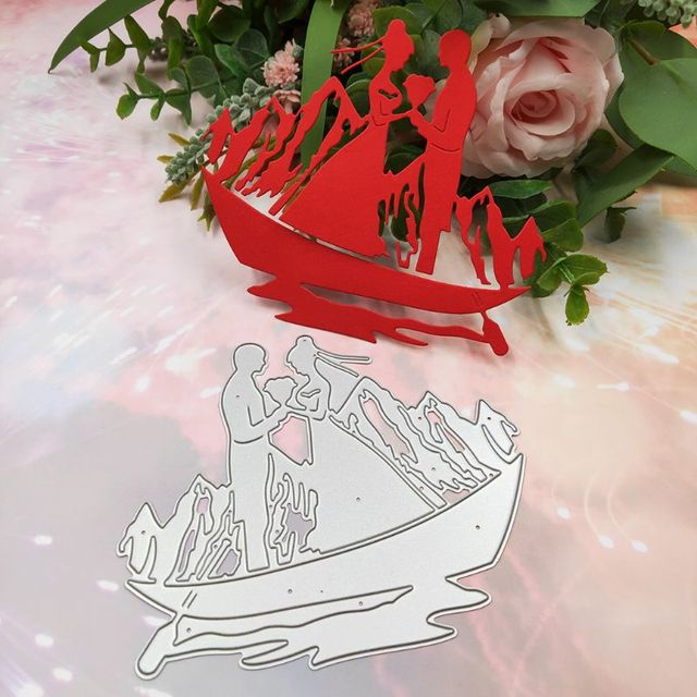 Boat Couple Metal Cutting Dies Stencil Scrapbooking DIY Album Stamp Paper Cards Embossing Decor Craft Art New Dies for 2020
