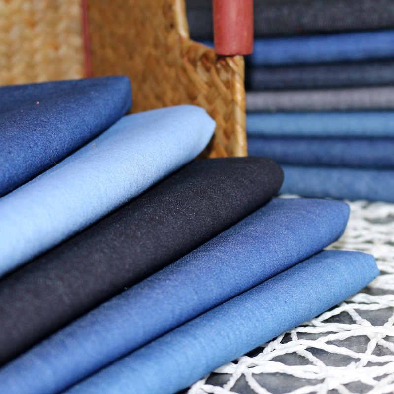 100cm * 140cm esneklik Denim pamuklu kumaş kalın kot kumaş DIY ceket gömlek elbise koyu mavi Denim dikiş patchwork kapitone