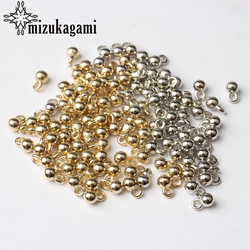 Golden Silver Plated CCB Round Ball Tail Extender Chain Charms Beads 200pcs/lot 3*6MM For DIY Jewelry Bracelet Accessories(China)