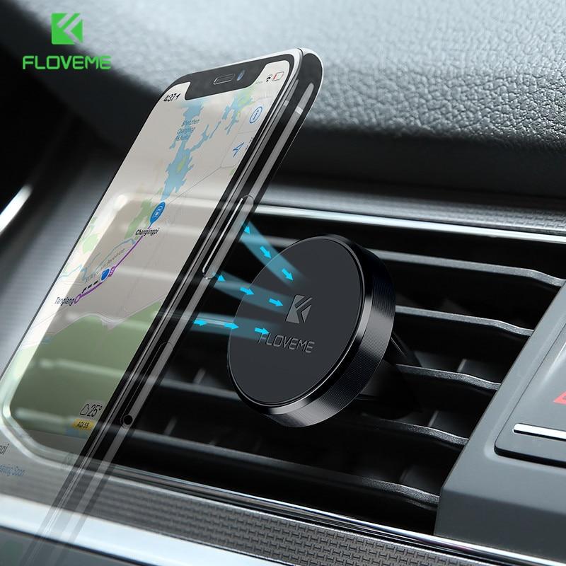 FLOVEME Univerzální držák mini autotelefonu 360 stupňů otočný magnetický vzduch Vent Mount držák do auta Magnetismus držák mobilního telefonu