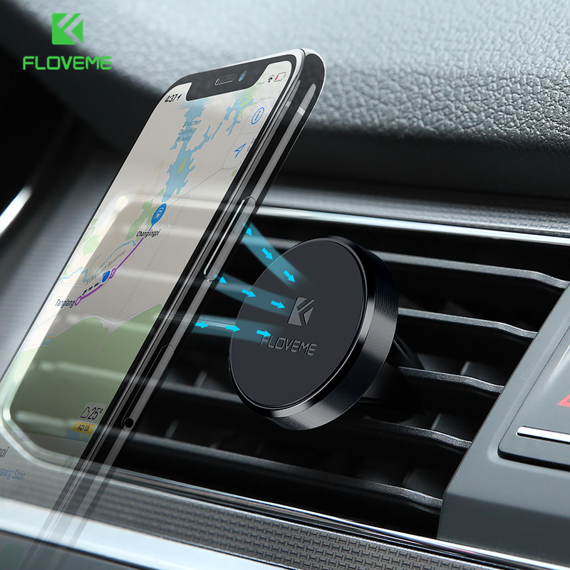 FLOVEME Universal Mini Car Phone Holder 360 graders roterbar magnetisk luftventilmontering Bilhållare Magnetism Mobiltelefonhållare