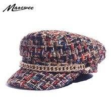 Весенние армейские кепки небольшая решётка винтажные шляпы матроса для женщин резьба твидовая яхта детская атласная фуражка капитана маленькая Сладкая ветровая кепка газетчика