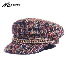 Gorros militares de primavera, gorros de marinero Vintage de cuadrícula, para mujer, sombrero de capitán de Tweed con hilo, sombrero pequeño y dulce viento