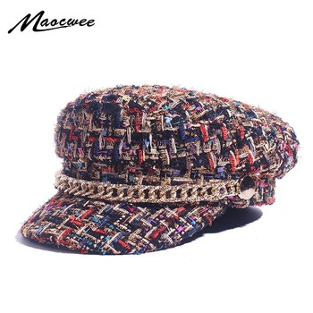 Spring Military Hats Small Grid Vintage Sailor Hats For Women Thread Tweed Yacht Captain Hat Small Sweet Wind Newsboy Cap