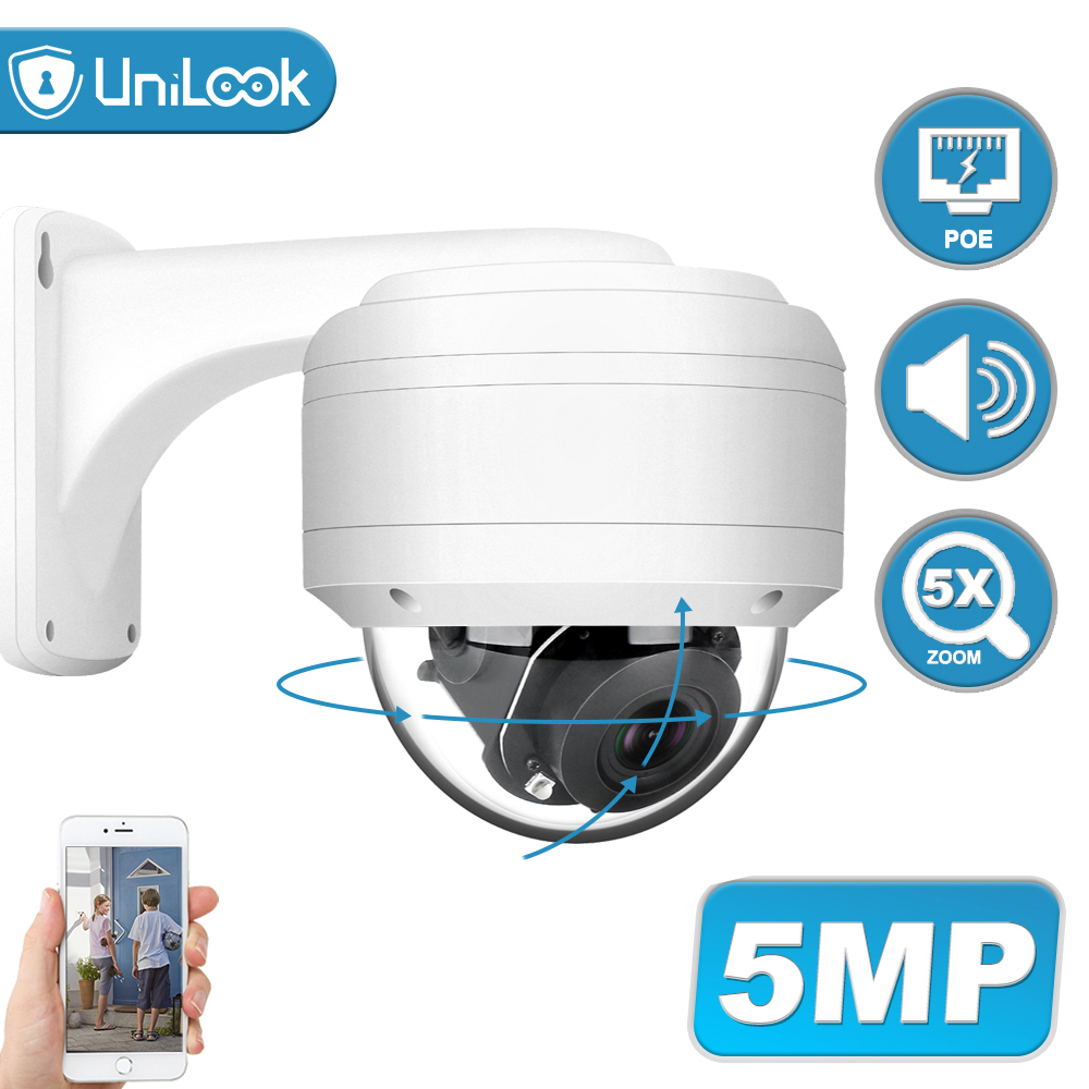 UniLook 5MP Dome POE PTZ IP Camera 5X Zoom Built In Microphone Outdoor Security Camera IR 35m Weatherproof IP 66 H.265 ONVIF P2P