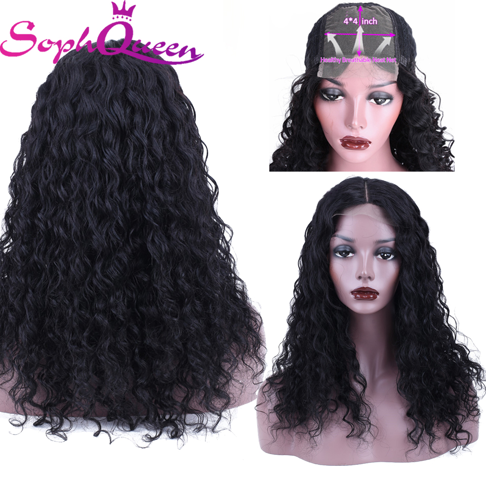 Soph Queen Lace Closure Human Hair Wigs Deep Wave 4*4 Human Hair Wig Peruvian Non Remy Hair Pre Plucked Middle Part