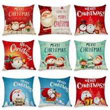 Christmas Santa Snowman Print Throw Pillow Case Cushion Cover Sofa Bed Office Decor Christmas Decoration For Home Party Suppply(China)