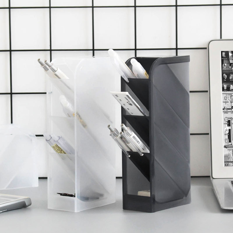 Multi-function 4 Grid Office Accessories Desktop Pen Holder School Storage Case Plastic Box Desk Pen Pencil Organizer