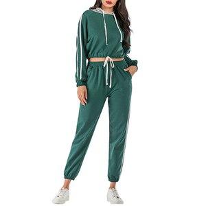 VICABO/Фитнес полосатый сшивание Для женщин комплекты длинный рукав шнурок укороченный толстовки с капюшоном и с эластичной резинкой на талии...