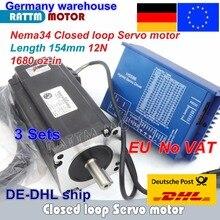 цена на DE free VAT 3 sets Nema34 L-154mm Closed Loop Servo Motor 12N.m 6A & HSS86 Hybrid 8A Step-servo Driver CNC Controller Kit