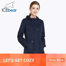 ICEbear 2019 O-Neck Collar Fall New Arrival Trench Coat Soli