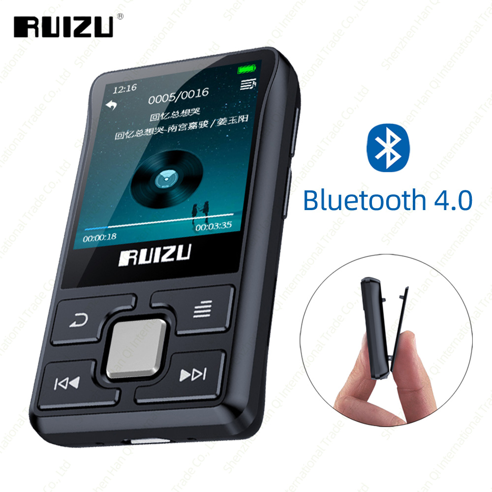 New RUIZU X55 Clip Sport Portable Sports Bluetooth MP3 8GB Color Screen Support TF Card,FM,HD Recording, Functional Music Player
