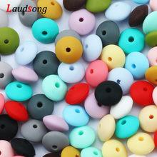 Cuentas de lentejas de silicona de 12mm, espaciador de silicona de grado alimenticio para DIY, Clips de cadena de chupete, collar de dentición de bebé hecho a mano, 50 Uds.