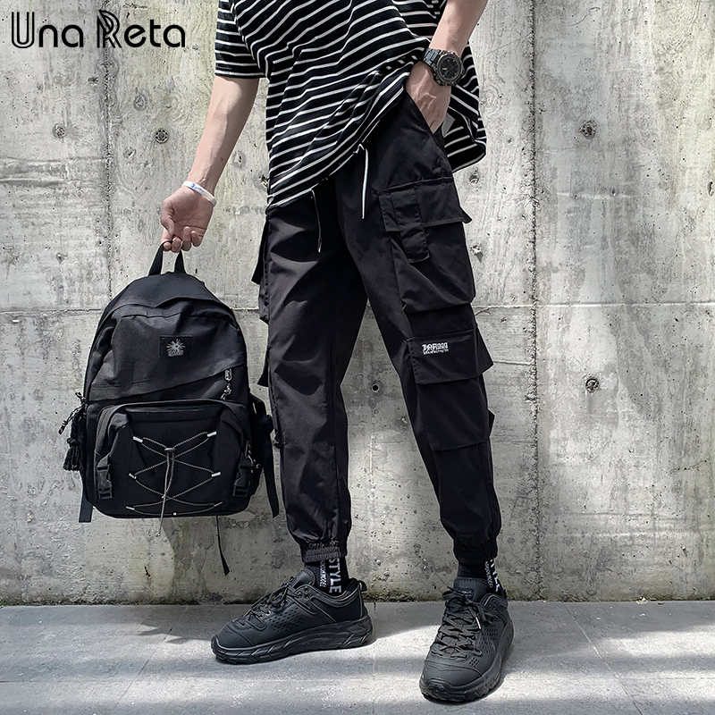 Una Reta M-5XL Streetwear Joggers Pants New Casual Pockets Pants Men Hip Hop Plus Size Cargo Pants Elastic Waist Sweatpants