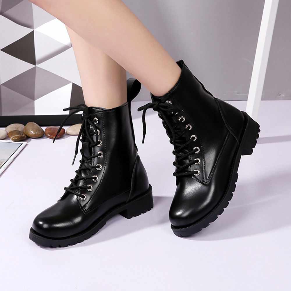 Botas Mujer Retro katı deri dantel-up ayak bileği Bota Feminina canon Curto yuvarlak ayak ayakkabı açık PU deri kış kadın ayakkabısı 5