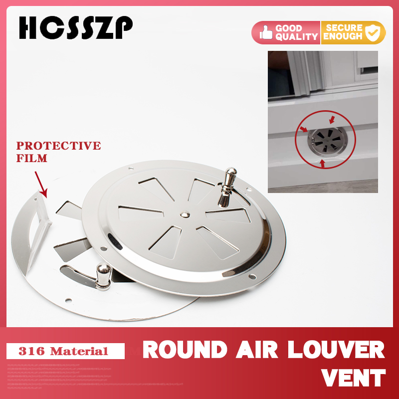 Marine Boat 316 Stainless Steel RV Round Air Louver Vent & Side Knob Opening Grille Cover Ventilation Louvered Ventilator 5 Inch