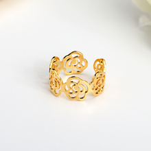 Open Hollow Flower Ring For Women Rose Gold Color Alloy Elegant Lace Wide Adjustable New Punk Party Jewelry Gift