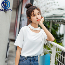 100% Cotton O-neck Stretch T-shirt Womens Harajuku Fashion Loose Solid Color Short-sleeved Comfortable Elegant Simple