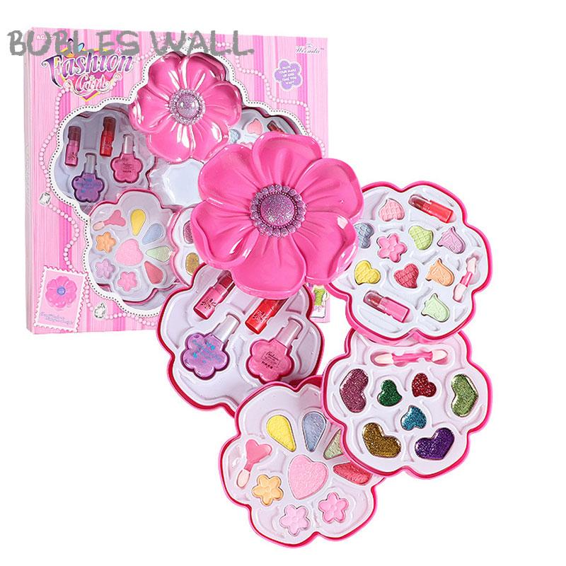 Girls Princess Cosmetics Make Up Set Cartoon Sunflower Polish Lipstick Eye Shadow Beauty Makeup Box Baby Kids Christmas Present