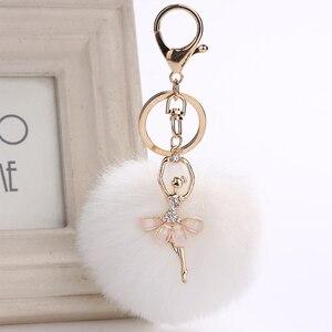 Image 5 - Ballet Meisje Auto Accessoires voor Vrouwen Parfum Fles Hanger Kerst Crystal Interieur Ornament Decoratie Konijn Haar Bal