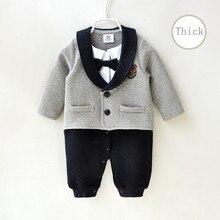 Noworodek chłopiec ubrania romper jesień powietrze bawełna gruby ciepły dżentelmen kombinezon dla dzieci zestaw z długim rękawem odzież dla dzieci 0 3 miesiąc