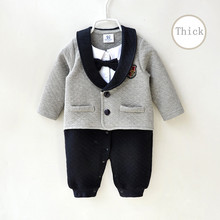 Yenidoğan bebek erkek giysileri romper sonbahar hava pamuk kalın sıcak beyefendi bebek tulum seti uzun kollu bebek giyim 0 3 ay