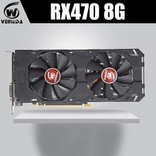 Видеокарта VEINEDA, 100% оригинальная видеокарта AMD Radeon rx 470 8 Гб 256 бит GDDR5 PCI E 3,0 HDMI DP видеокарта для игр nVIDIA Geforce