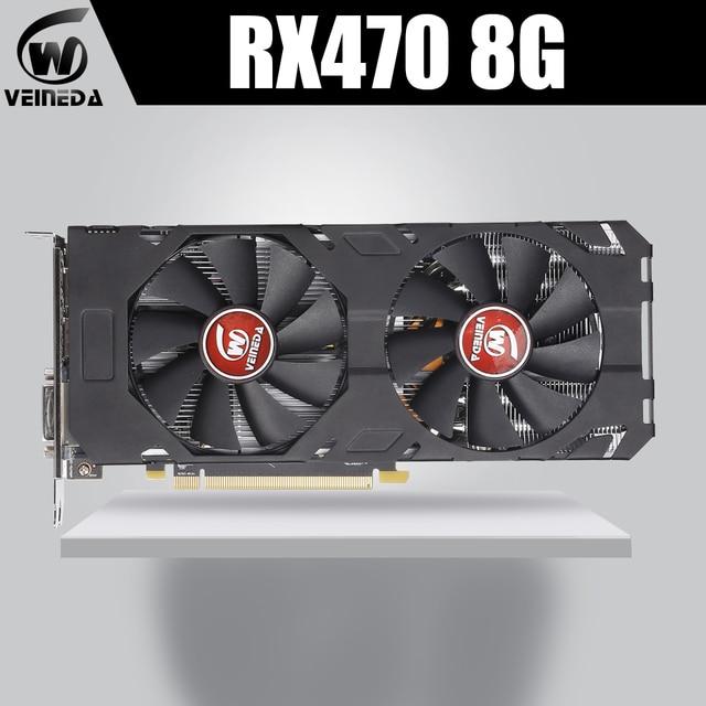 VEINEDA 100% 기존 그래픽 카드 AMD Radeon rx 470 nVIDIA Geforce 게임용 8GB 256Bit GDDR5 PCI E 3.0 HDMI DP 비디오 카드