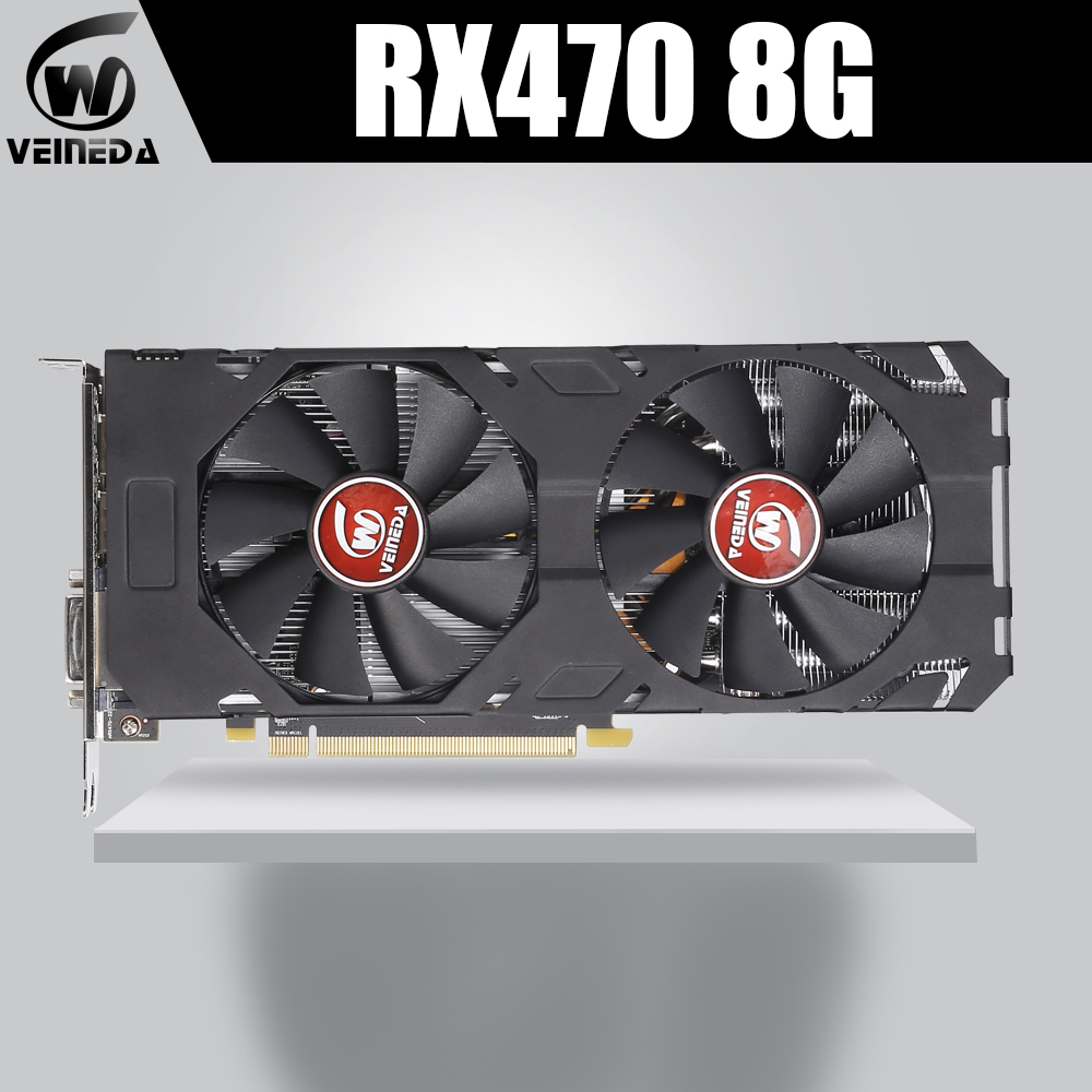 VEINEDA 100% Original  Graphics Card AMD Radeon Rx 470 8GB 256Bit GDDR5 PCI-E 3.0 HDMI DP  Video Card For NVIDIA Geforce Games
