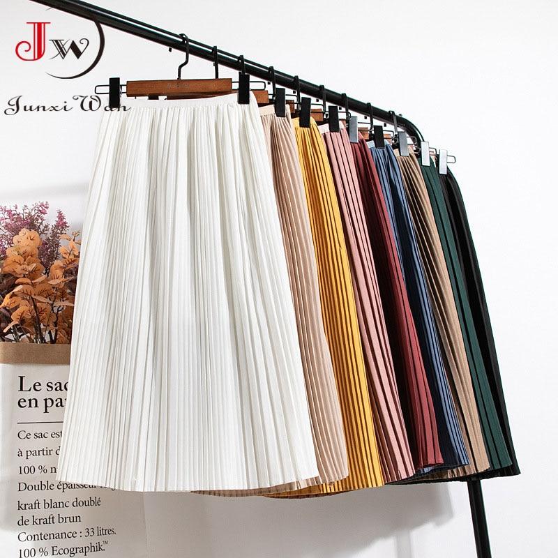 Women Summer Solid Pleated Skirt 2021 High Elastic Waist Elegant Office Ladies Romantic Midi Skirt Female Saia Faldas White 1