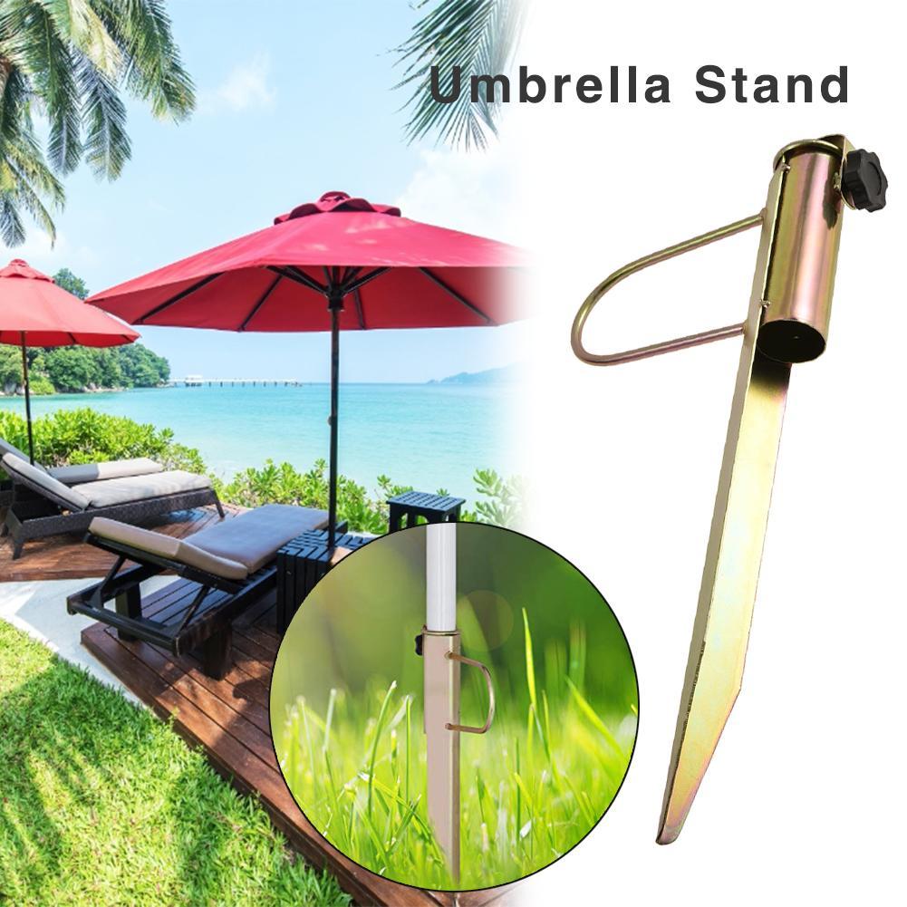 Outdoor Camping Sun Beach Umbrella Stand Holder Rain Gear For Relax Days Lawn Stake Steel Ground Parasol Umbrella Parasol Pole
